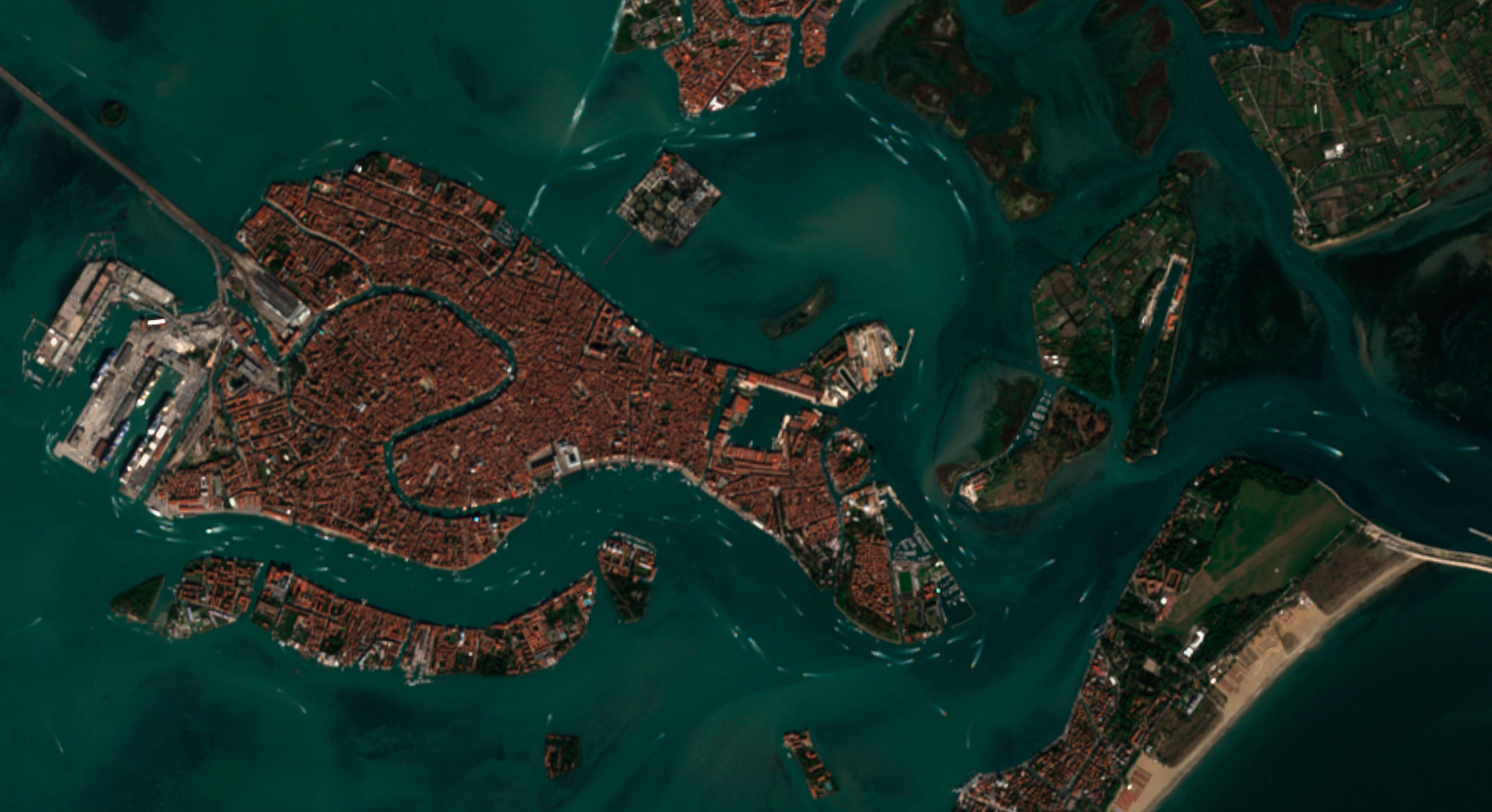 Vaporettos en la isla de Venecia